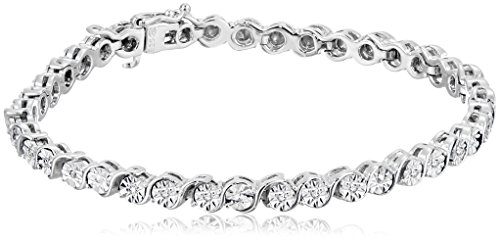 """AMAZOn Sterling Silver Diamond Miracle Plate """"S-Link"""" Ten..."""