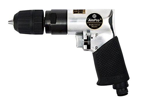 - Ampro A2428 3/8-Inch Reversible Air Drill with Keyless Chuck
