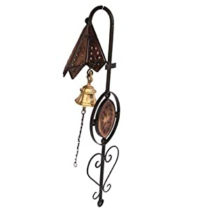 Beyond collection Wooden and Wrought and Cast Iron Doorbell with Brass Bell Wall Hanging Home Decor (29 inch, Brown)