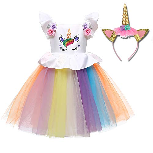 Girl Unicorn Costume Dress Party Dress Cosplay Flower Pageant Party Tutu Dresses