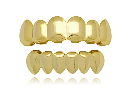 LuReen 14k Gold Plated Hip Hop Teeth Grills Caps 6 Top & Bottom Grills Set (Gold) -
