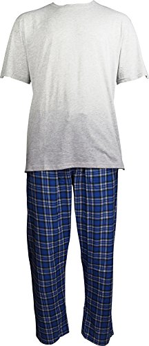Hanes Mens Short Sleeve Top and Woven Pant Pajama Set, Grey, Blue 40388-X-Large