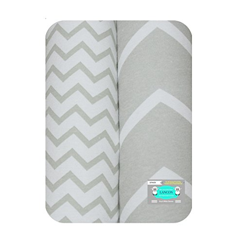 Pack N Play Portable Crib Sheet Set by LANCON Kids - 2 Pack of Ultra Soft, Premium 100% Jersey Knit Cotton Fitted Sheets (Gray/White Chevron) (Game Jersey Ultra)