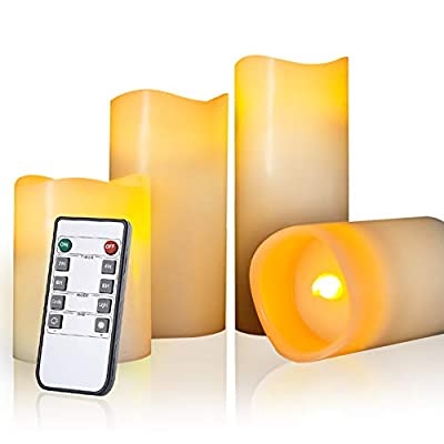 Beichi Flameless Candles Battery Operated LED Pillar Real Wax Electric Unscented Ivory Candles with Remote & Cycling 24 Hours Timer, Flickering Amber Flame Candles