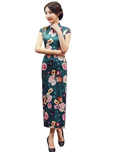 Etuikleid Blumen Aussehen Lang ACVIP Damen Dünn Mustern Schlitz Chinesische OnUq8