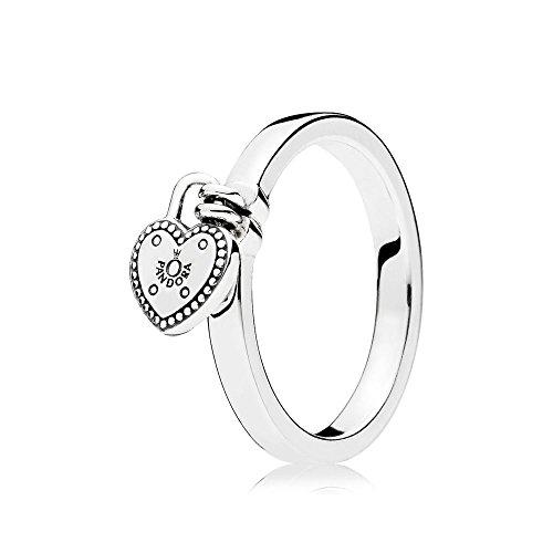 PANDORA Heart Padlock Ring, Sterling Silver 196571-56 EU 7.5 US