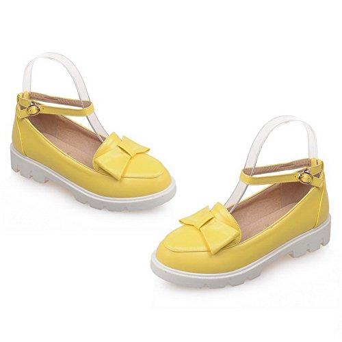 BalaMasa Yellow Urethane Square Bows Heels Flats Womens Metal Buckles Shoes vWnvzwUTpq