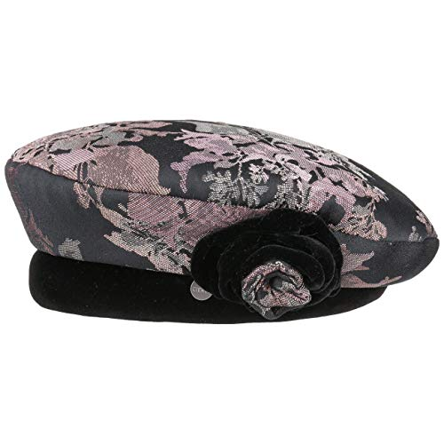 (Lierys Beret with Velvet and Flower Women Black One Size)