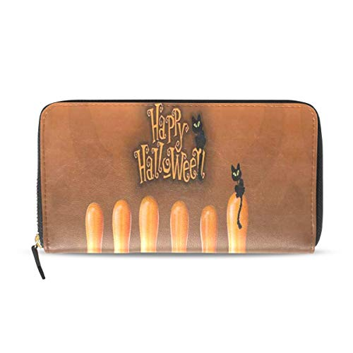 Womens Wallets Happy Halloween Cat Bowling Leather Passport Wallet Coin Purse Girls -