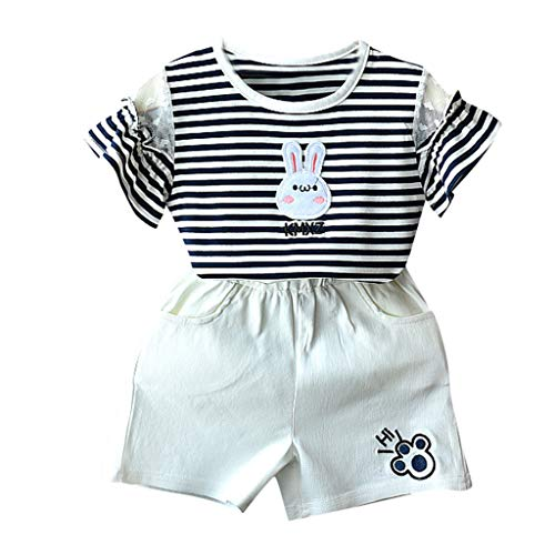 Lisin Toddler Baby Kids Girls Short Sleeve Stripe Rabbit Bunny Tops Short Pants Outfits Set (18-24 Months, Black)