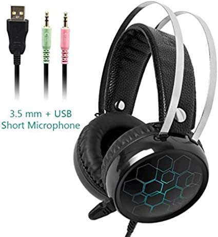 OUYAWEI Better for Professional 7.1 Gaming Headset Gamer Surround Sound USB Wired Headphones with Microphone for PC Computer Xbox One PS4 RGB Light 3.5 Short Mic