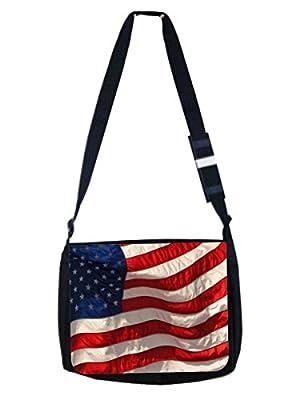 American Flag - Girls / Boys Large Black School Shoulder Messenger Bag