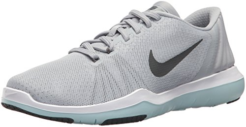 NIKE Women's Flex Supreme TR 5 Cross Trainer, Wolf Dark Grey/White/Glacier Blue, 6.5 B US