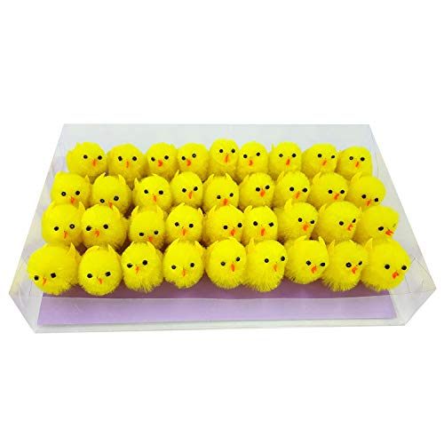 Pack of 36pcs Easter Chenille Chicks Easter Hat Decoration Cake Decoration (Yellow) -