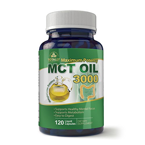 Maximum Potency 100% Pure MCT Oil Capsules 3000 mg I For Improved Energy and Brain Function I 120 Cold Pressed Softgels - Includes Bonus Keto Diet eBook by Totally Natural Remedies