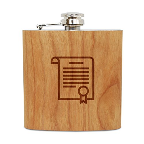 WOODEN ACCESSORIES COMPANY Cherry Wood Flask With Stainless Steel Body - Laser Engraved Flask With Certificate Design - 6 Oz Wood Hip Flask Handmade In USA