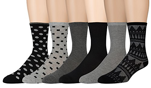 Cotton Blend Trouser Socks - Sonoma Women's Dress Crew Socks - Solid and Patterned - 6 Pairs - Size 4-10 (Casual Cozies)