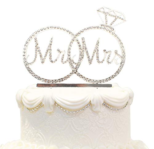 Hatcher lee Mr & Mrs Cake Topper for Wedding Anniversary Rings Crystal Rhinestone Party Decoration (Silver) ()