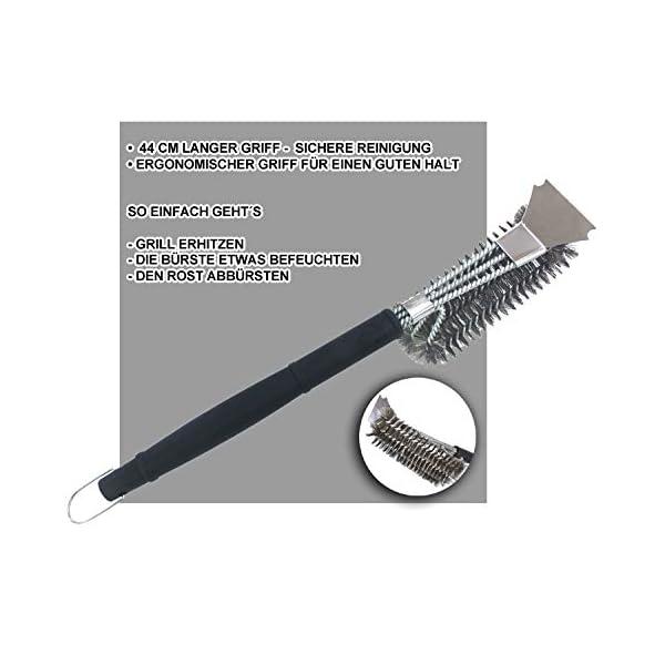Spazzola per barbecue con spatola in acciaio inox e manico lungo, accessorio perfetto per barbecue a carbonella… 1 spesavip