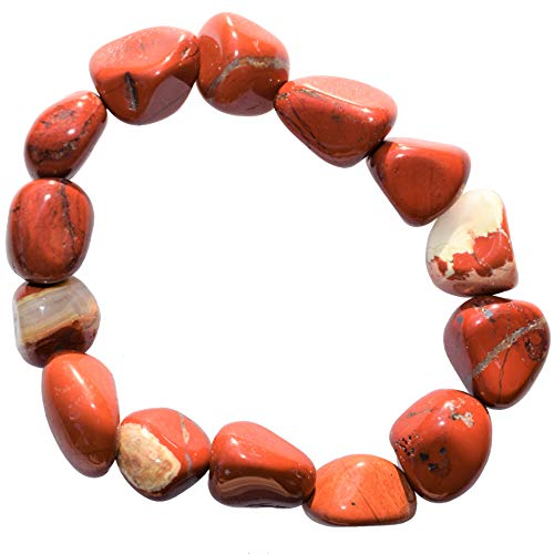 Charged Red Brecciated Jasper Crystal Bracelet Tumble Polished Stretchy (Dynamic Power Stone of Strength & Vitality - Brings Clarity & Focus) Healing Energy Reiki by ZENERGY GEMS