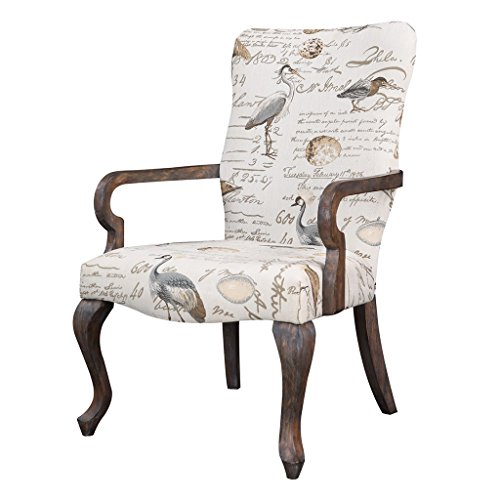 Transitional Queen Anne Style Beige Bird Print High Back Accent Occasional Chair with Reclaimed Wood Frame