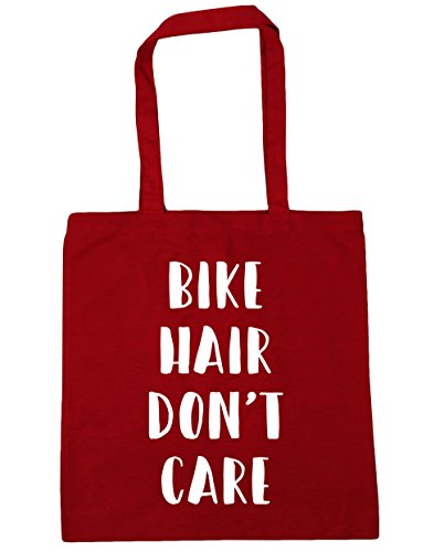 HippoWarehouse bicicleta pelo Don 't care Tote Compras Bolsa de playa 42cm x38cm, 10litros Classic Red