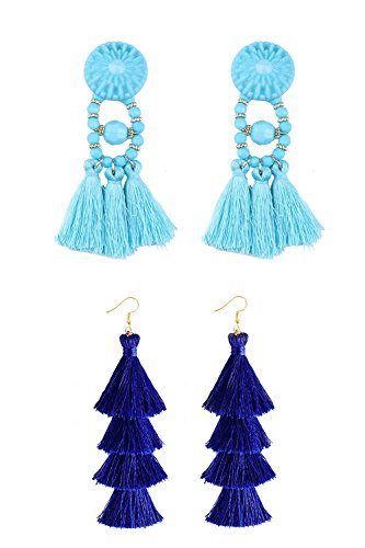 Bohemian Statement Chandelier Light Blue Tassel Earrings Stud and Royal Blue Tiered Thread Tassel Drop Dangle Earring 2 Pairs Fashion Handmade