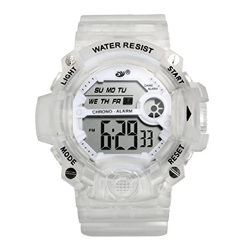 Kids Large Face Sport Watches, 30M Waterproof Multi-Function Digital Watch, Clear Jelly Band (White)