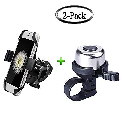 2 Pack Bike Utensil,Universal Bike Cell Phone Mount & Bike Bicycle Copper Bell,Cycling Ringing Horn ()