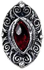 B You Adjustable Silver Tone Red Center Stone Gothic Ornate Statement Big Fashion Ring