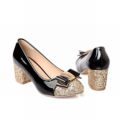 Carol Shoes Fashion Womens Shiny Sequins Bowknots Cuff Chunky Middle Heel Dress Pumps Shoes Black bQp1kTJ
