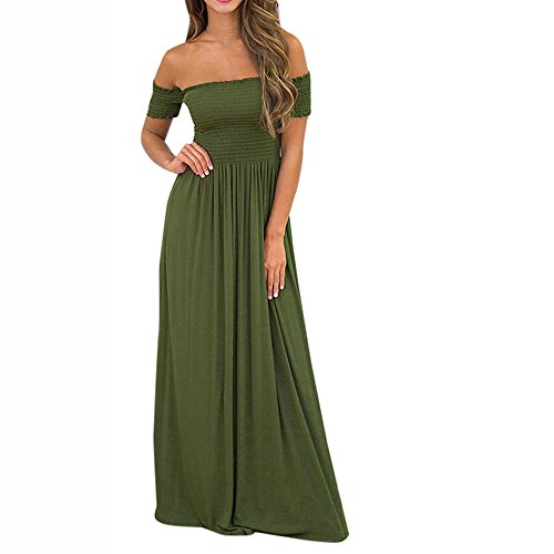 Goodtrade8 Womens Summer Dresses Off Shoulder Beach Holiday Evening Party Long Maxi Dress (L, Army Green)
