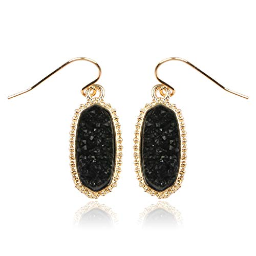 RIAH FASHION Lightweight Acrylic Stone Druzy Crystal Oval Drop Earrings - Sparkly Geometric Polygon Hook Dangles Hexagon, Decagon (Oval Hexagon Mini - Black)