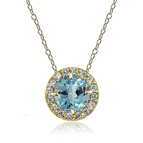 Womens Cubic Zirconia Accent - Ice Gems Yellow Gold Flashed Sterling Silver Blue Topaz and Cubic Zirconia Accents Round Halo Necklace