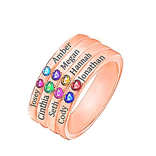(Mother Rings with Children Simulated Birthstones Personalized Names Family Rings(3.5,Rose-Gold-Plated-Base))