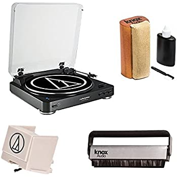 Audio-Technica AT-LP60BK-BT Bluetooth Fully Automatic Belt-Drive Stereo Turntable with extra Stylus & Brush Cleaner