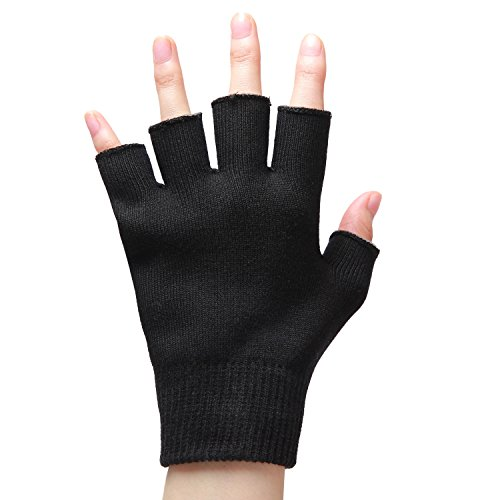 Moisturizing Gloves Fingerless for Dry Hands,Gel SPA Gloves Repair Cracked Skin and Exfoliate Skin,Soften Beauty Hands for Women & Men Overnight,Best Gift for Nurses,Barber and others,Black by LANGFON