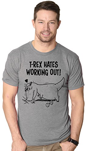 Crazy Dog TShirts - Mens T-Rex Hates Working Out Tshirt Funny Dinosaur Fitness Push Ups Tee (Grey) S - herren - S