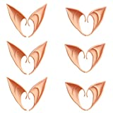 QHZHANG 6 Pairs Cosplay Masks Soft Pointed Ears Fairy Goblin Ears, 3 Pairs Long + 3 Pairs Short (Dark Skin)