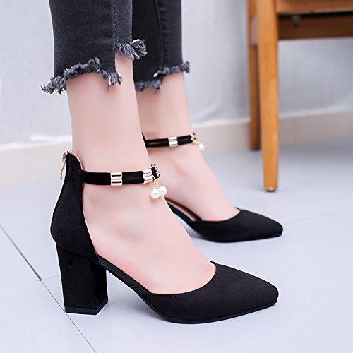 La mujer de verano pies zapatos planos sandalias de fondo 39 de polvo de perlas Black