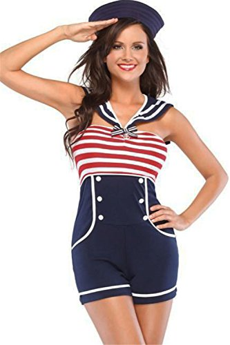 [FiveFour Women's Halloween Costume Navy Red White Sailor Cosplay Costume] (Willy Wonka Costumes Girl)