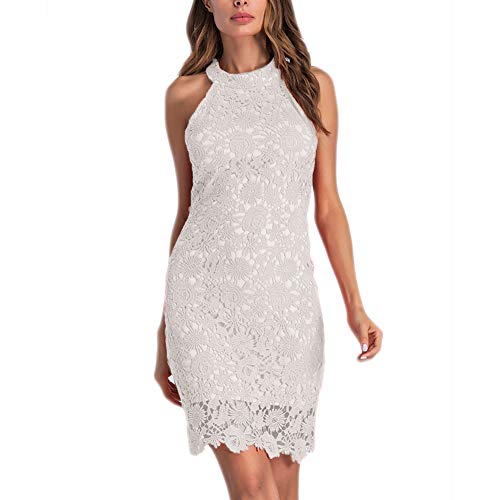 Womens Halter Lace Dresses for Special Occasions, White, Large