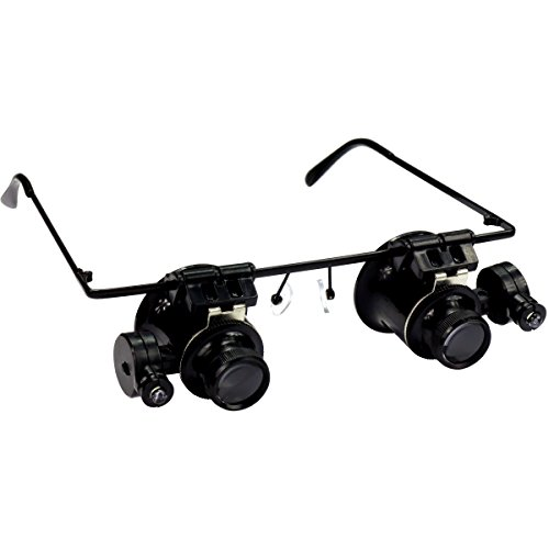 HTS 201D2 20x Hands Free Illuminated Loupes With Eyeglass Frame -