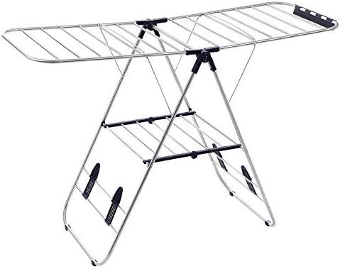 SONGMICS LLR502 - Tendedero Plegable de Acero Inoxidable (16 m), Color Plateado