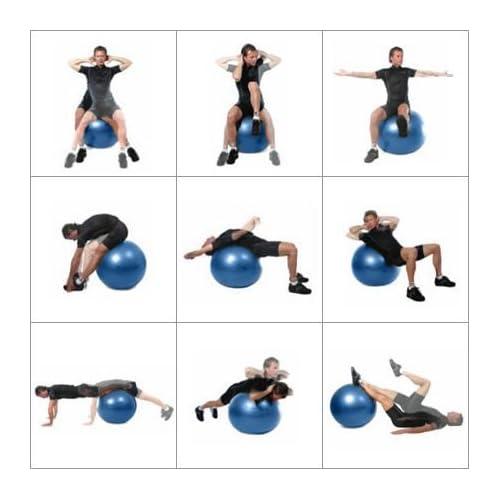 Ballon de Gym 55-75cm avec pompe. - Le meilleur pour abdos stabilité et tonification des muscles. Idéal pour Cross Fit, Yoga et Pilates, Anti-Éclatement/Plusieurs options de couleurs