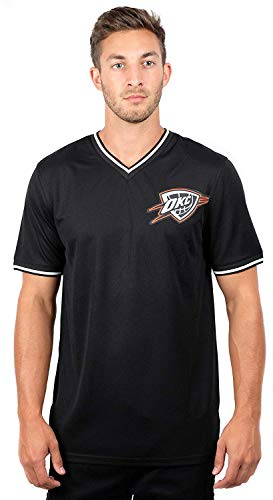 Ultra Game NBA Oklahoma City Thunder Men's Jersey T-Shirt V-Neck Mesh Short Sleeve Tee Shirt, Large, Black