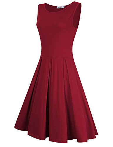 MISSKY Women Sleeveless Round Neck Knee Length Fit Flare Swing Casual Vintage Dress (L, Burgundy-90) by MISSKY (Image #1)