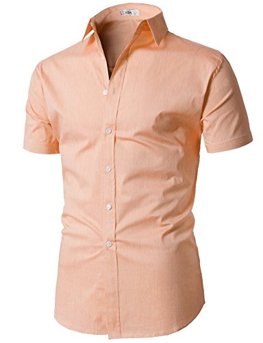 (H2H Mens Dressy Casual Style Cotton Blend Short Sleeves Button Down Shirt LIGHTORANGE US XL/Asia 2XL (KMTSTS0132))