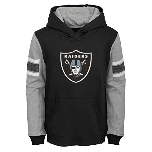 (Outerstuff NFL Oakland Raiders Kids & Youth Boys Man in Motion Color Blocked Pullover Hoodie, Black, Kids Medium(5-6))