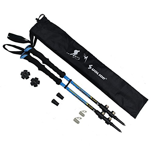 Travelsky Trekking Poles,Ultralight Double Locking,7075 Aluminum Alloy,Travel Hiking /Climbing Poles with Anti-Shock & Quick Lock Technology,Walking\running, 2-Pack …